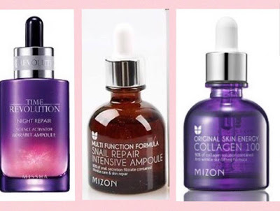 Missha Time Revolution Night Repair Science Activator Ampoule - Mizon Snail Repair Intensive Ampoule - Mizon Original Skin Energy Collagen 100