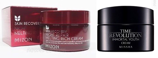 Mizon la Skin Recovery Night Repair Melting Rich Cream - Missha Time Revolution Immortal Youth Cream