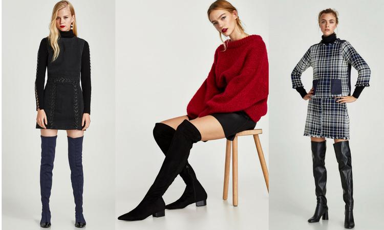 Stivali Over The Knee. Da sinistra: Zara in velluto blu €49.95- Zara neri elesticizzati €49.95-Zara neri €49.95