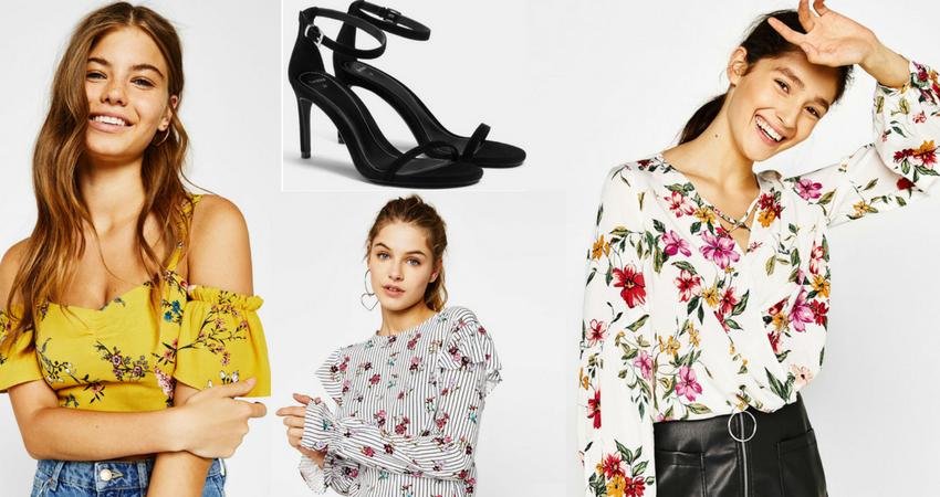 Top, camicie a fiori e sandali Bershka